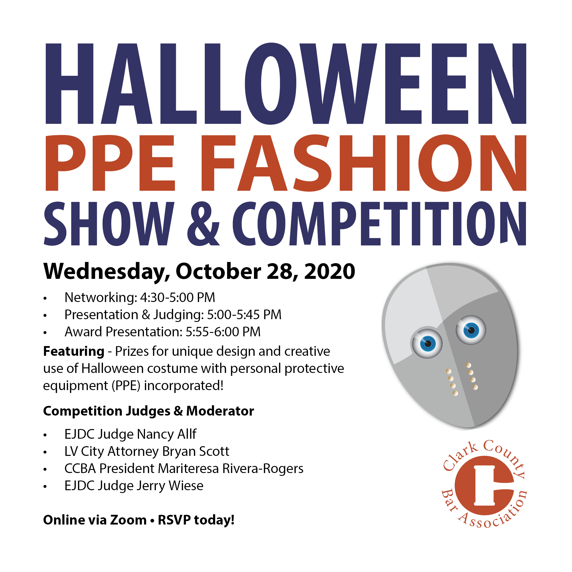 Halloween Events October 28 2020 Halloween PPE Fashion Show & Competition – Clark County Bar